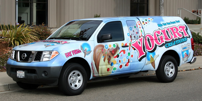 Yogurt Creations Vehicle Wrap Advertising Message