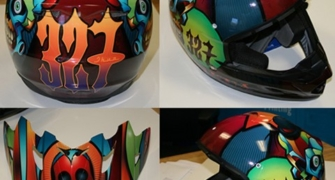 Custom Graphics on a Motorcycle Helmet